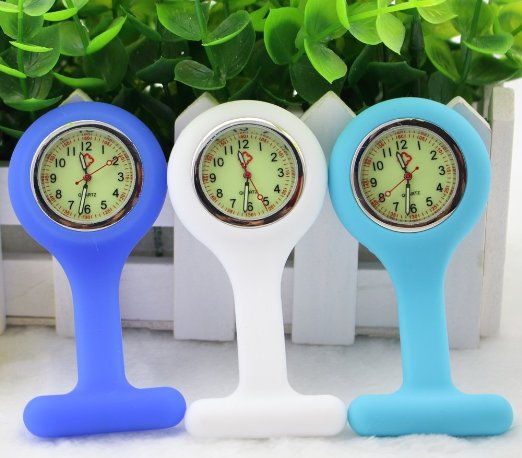 BestGrew Set of 3 Unisex Silicone Infection Control Nurses Lapel Watch