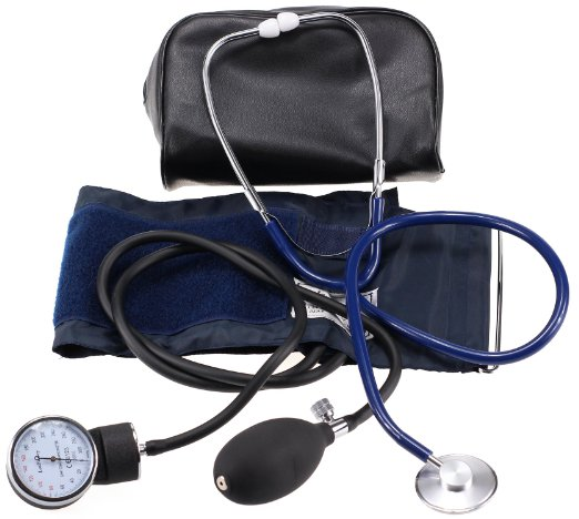 LotFancy Manual Blood Pressure Cuff, Aneroid Sphygmomanometer & Stethoscope Kit