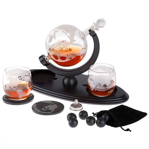 Globe Whiskey Decanter Gift Set