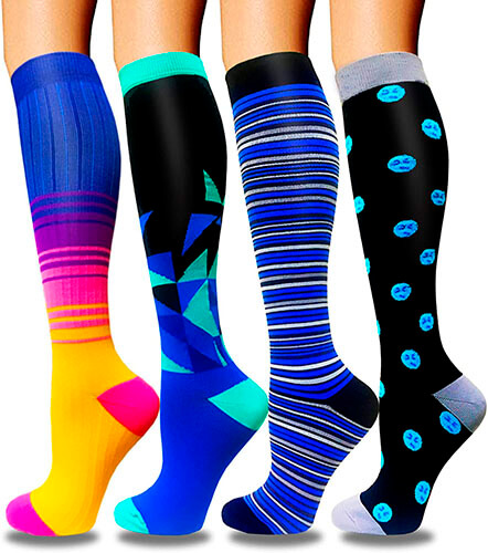 Aoliks Unisex Compression Socks for Women & Men Circulation (4 Pairs)