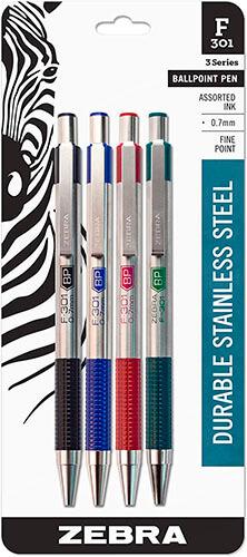 Zebra F-301 Ballpoint Stainless Steel Pens